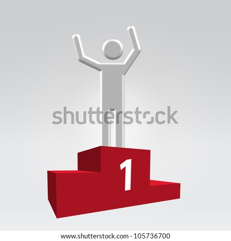 Silver glossy abstract man on sport winner pedestal