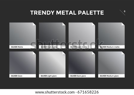 Silver gradient template. Collection palette of silver metallic gradient swatches with gloss for backgrounds, textures. Set of realistic steel metallic palettes, vector icons. Vector Illustration