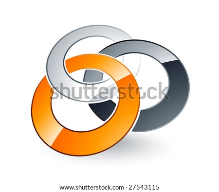 Silver, Gray And Orange Rings Entwined