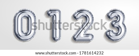 Silver gray  balloon number 0, 1, 2, 3 realistic 3d render air balloon. Collection of balloons number ready to use. Holiday and party. 3d vector icon set. Foil balloon number zero isolated on white.