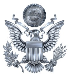 Silver Great Seal of the United States American eagle design with bald eagle holding an olive branch and arrows with American flag shield. With E pluribus unum scroll  and stars glory over his head.