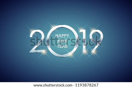 Silver Happy new year 2019 with glowing glitter on blue color background