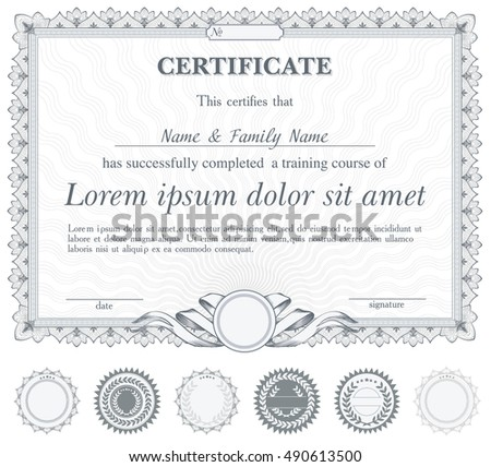 Silver horizontal certificate template with additional design elements