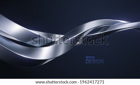 Silver intertwined shapes. Abstract luxurious background. Curvy stream. Abstract metallic wave. Vector 3d illustration. Minimalist geometric cover design. Elegant backdrop. Jewelry pattern Stock foto ©