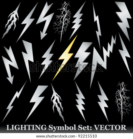 Silver lightning set on black. Huge  Vector set