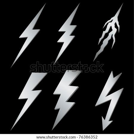 Silver lightning set on black. Vector