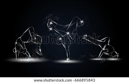 silver linear b boys dancers