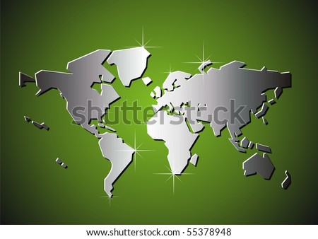 Silver map of the world. Vector illustration.