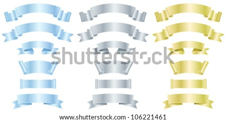 Silver, Metal And Gold Banners Or Ribbons/ Illustration of a set of various metal, silver and gold banners, scrolls,  awards and ribbons
