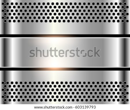 Silver metal background, shiny metallic chrome plate with holes