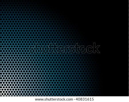 Silver metal background with blue hexagon