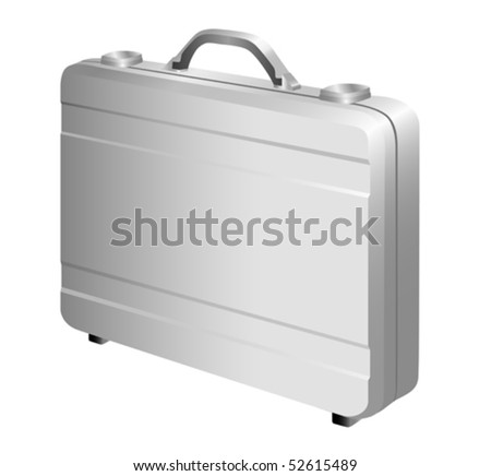 Silver metal briefcase. Vector - stock vector
