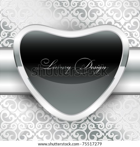 Silver metal plate with classic ornament and black polished screen(vector collection)