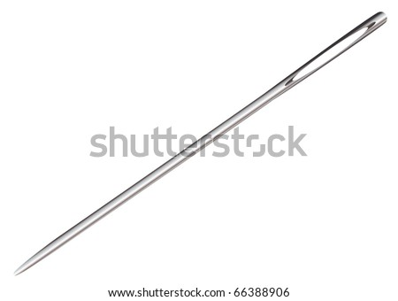 Silver metal sewing needle with eyelet and reflection surface