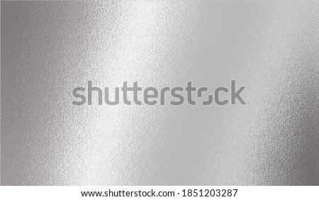 Silver metallic effect foil. Silver texture. Gradient background. Metal surface print. Glitter backdrop. Silver plate. Shine design invitation, wedding greeting, cards, prints. Vector illustration