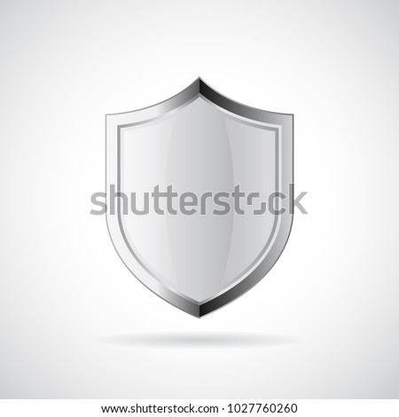 silver metallic shiny shield