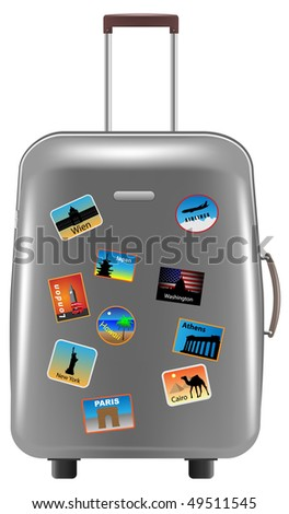silver metallic suitcase on white background