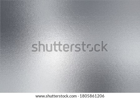 Silver metallic texture. Beautiful background with effect foil. Silver metal surface. Glitter backdrop. Silver plate. Shine design for invitation, wedding greeting, cards, prints. Vector illustration