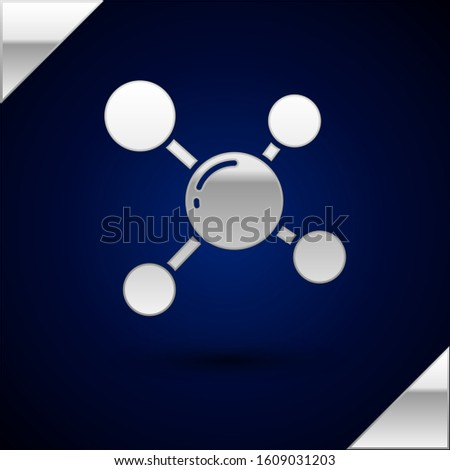 Silver Molecule icon isolated on dark blue background. Structure of molecules in chemistry, science teachers innovative educational poster.  Vector Illustration