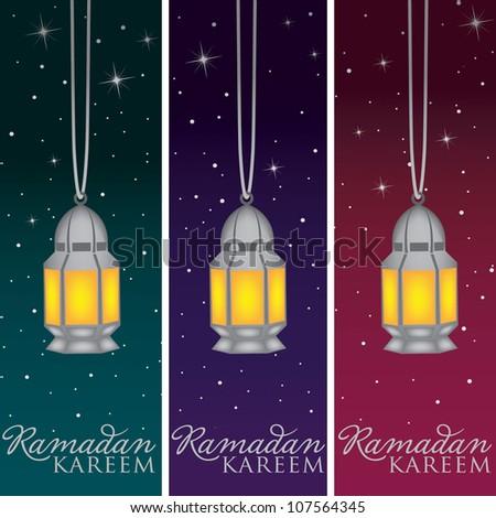 "Silver Mosque and moon ""Ramadan Kareem"" (Generous Ramadan) banners in vector format."