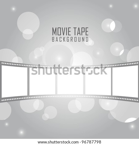 silver movie tape with circles over silver background. vector