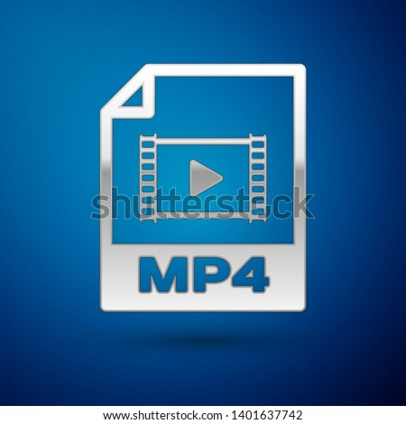 Silver MP4 file document icon. Download mp4 button icon isolated on blue background. MP4 file symbol. Vector Illustration