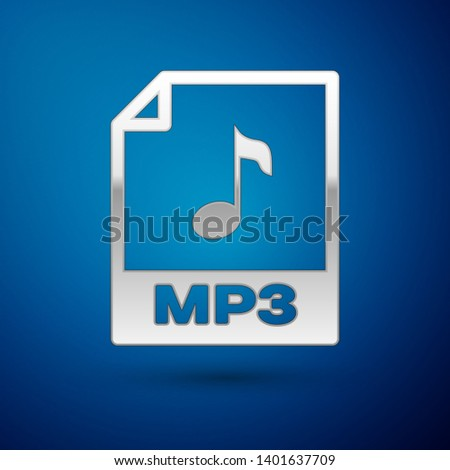 Silver MP3 file document icon. Download mp3 button icon isolated on blue background. Mp3 music format sign. MP3 file symbol. Vector Illustration
