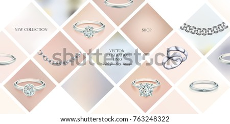 Silver necklace with diamond. Platinum chain with gem. Luxury brilliant jewelry pedant or coulomb on transparent background isolated vector illustration for ads, fluers, web site sale elements design Stock photo ©