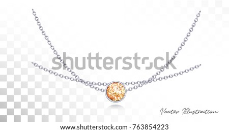 Silver necklace with diamond. Platinum chain with gem. Luxury brilliant jewelry pendant or coulomb on transparent background isolated vector illustration for ads, flyers, wed site sale elements design