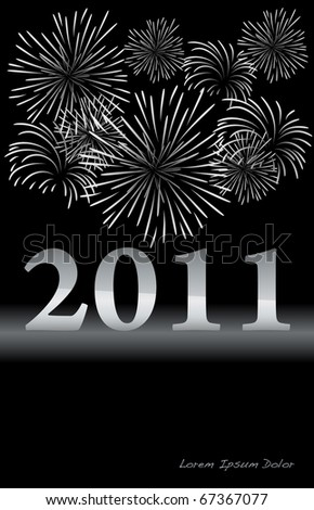 Silver New Year design with fireworks VECTOR - stock vector