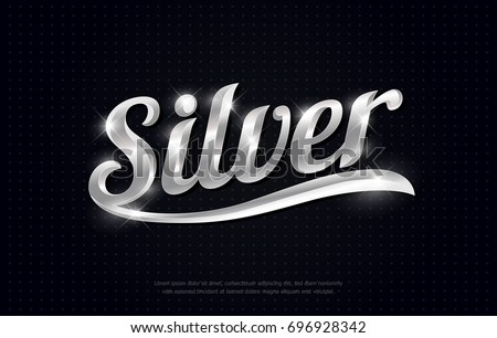 silver on black background. silver metal font for logo, banner, card, vip, exclusive, gift, luxury, lettering, currency symbols. vector illustrator