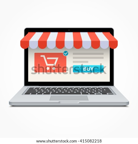 Silver open laptop with and screen buy. Concept online shopping