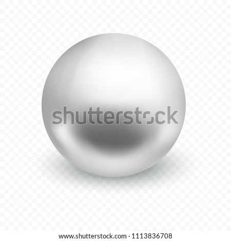 Silver or chrome ball isolated on transparent background. Spherical 3D sphere with glares and highlights for decoration. Jewellery gemstone. Vector Illustration.
