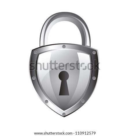 silver padlock isolated over white background. vector illustration