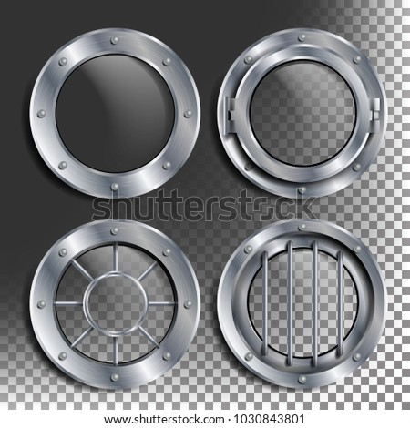 silver porthole vector round