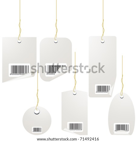 Silver price tag set isolated on white. Vector