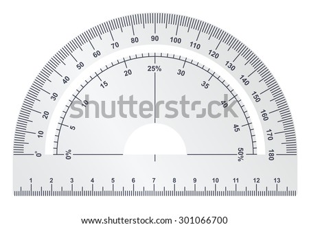 Silver protractor on white background