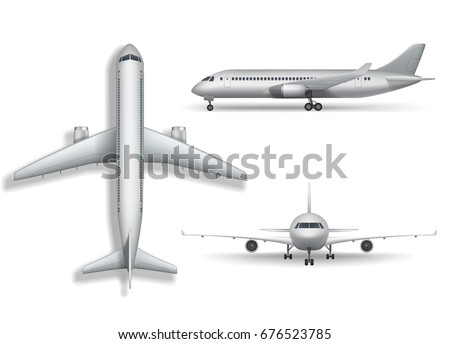 silver realistic airplane mock