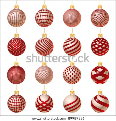 silver-red set of Christmas ornament, vector