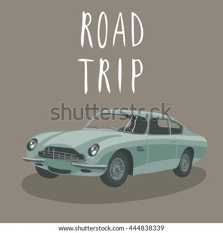 silver retro car isolated