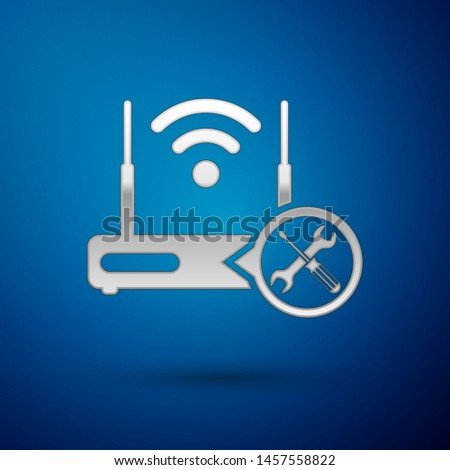 Silver Router wi-fi with screwdriver and wrench icon isolated on blue background. Adjusting, service, setting, maintenance, repair, fixing.  Vector Illustration