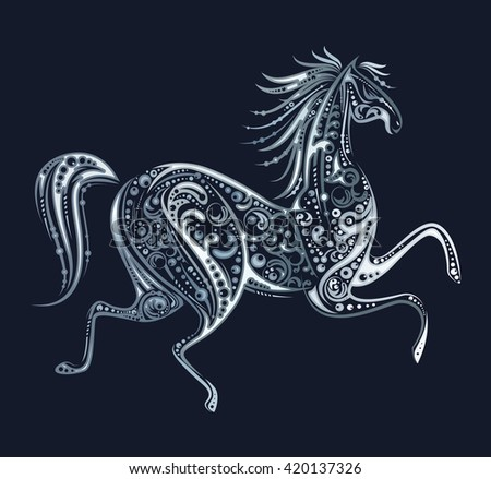 Silver Running Horse Made By Floral Elements On Dark Background
