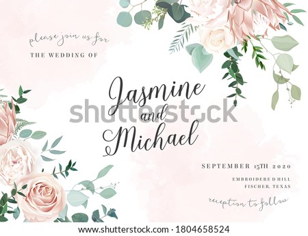 Silver sage and blush pink flowers vector design frame. Ivory beige and dusty rose, white peony, protea, ranunculus, eucalyptus. Wedding floral. Pastel watercolor background. Isolated and editable