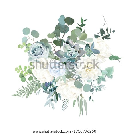 Silver sage green, mint, blue, white flowers vector design spring bouquet. Peony, rose, beige dahlia, succulent, eucalyptus, greenery. Wedding floral garland. Pastel watercolor. Isolated and editable