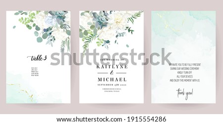 Silver sage green, mint, blue, white flowers vector design spring cards. White peony, dahlia, dusty rose, succulent, eucalyptus, greenery. Floral wedding frames. Elements are isolated and editable