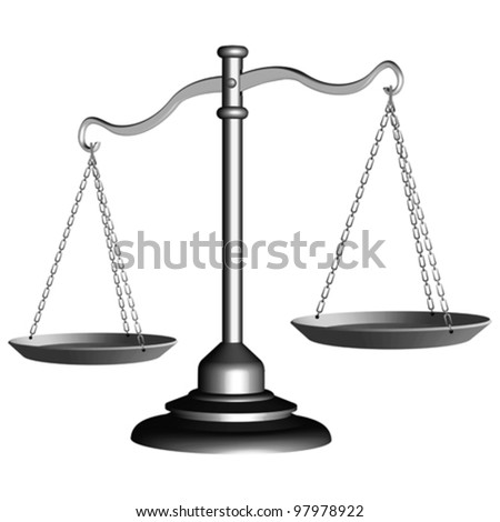 silver scale of justice against white background, abstract vector art illustration - stock vector