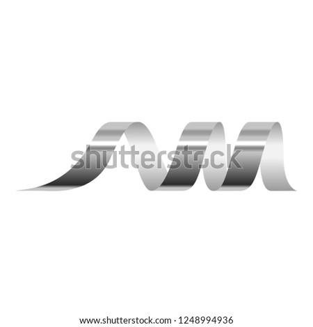Silver serpentine icon. Realistic illustration of silver serpentine vector icon for web design isolated on white background