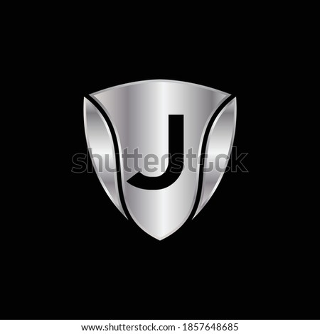 Silver Shield Logo Design for Letter J. Vector Realistic Metallic logo Template Design for Letter J. Silver Metallic Logo. Logo Design for car, safety companies and others.