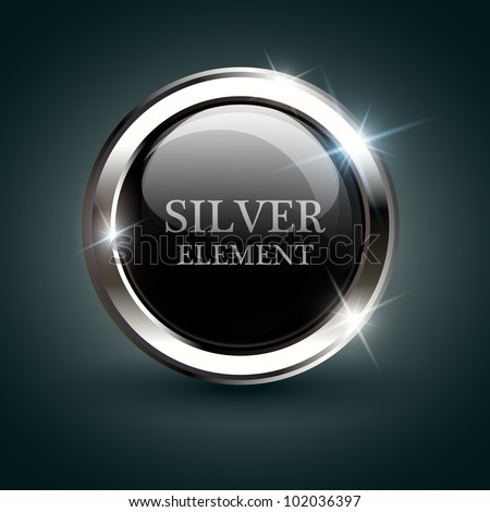 Silver shiny modern element. Silver Web button. Vector sticker. Part of set. - stock vector