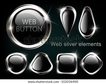Silver shiny modern elements. Silver Web buttons. Vector sticker. Part of set.